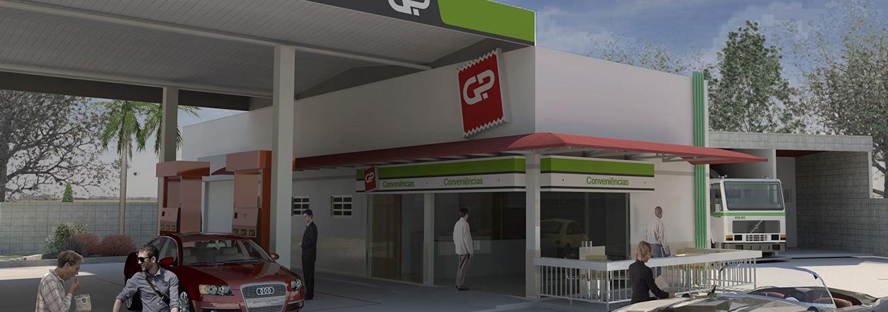 Fachada posto de combustíveis - GP Combustíveis - Logi Arquitetura - projetos para varejo