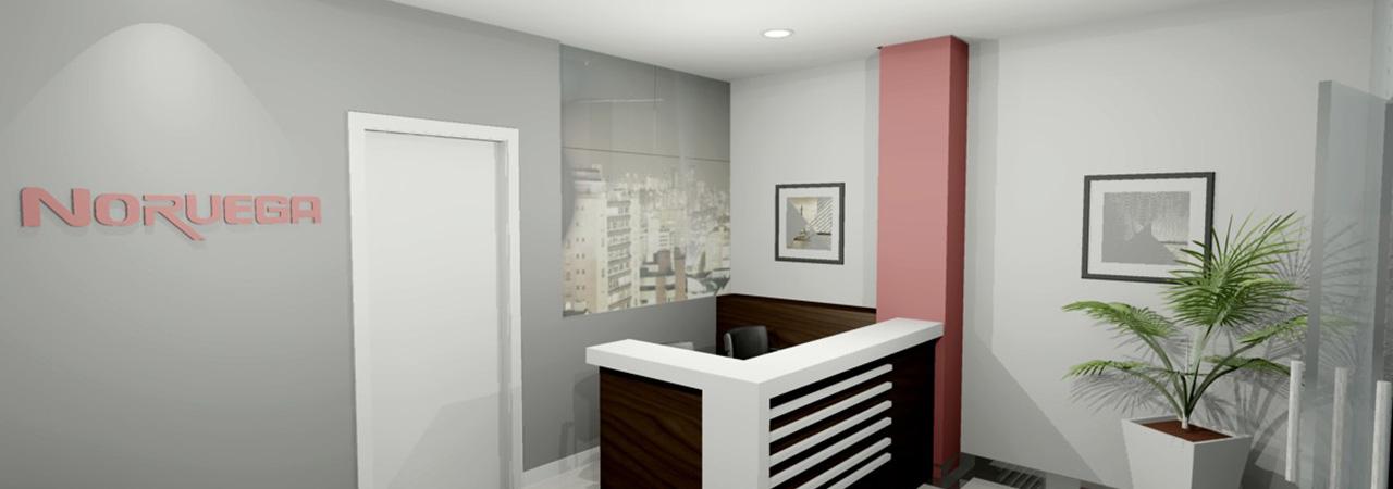 Recepção de imobiliária - espaço corporativo